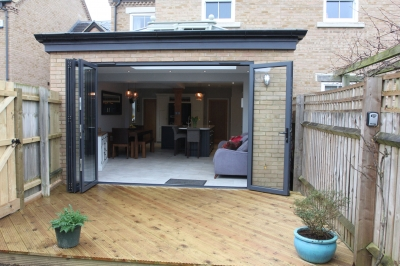 Kitchen extension bi-fold doors